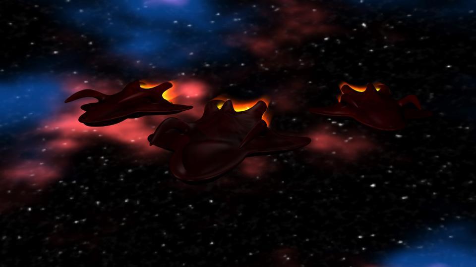 Jeder Alien Cruiser trug drei Alien Fighters an Bord. Das war genug, um fast jedes Schiff in die Knie zu zwingen.