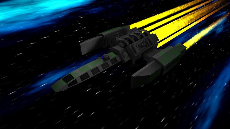 Der Courier war das erste und kleinste Schiff, das Geschütze tragen konnte. Standardmäßig war er mit einem Lasergeschütz bewaffnet. Diese Bilder zeigen ein anderes Geschütz, da das Schiff auch in Dark Swarm verwendet werden sollte.