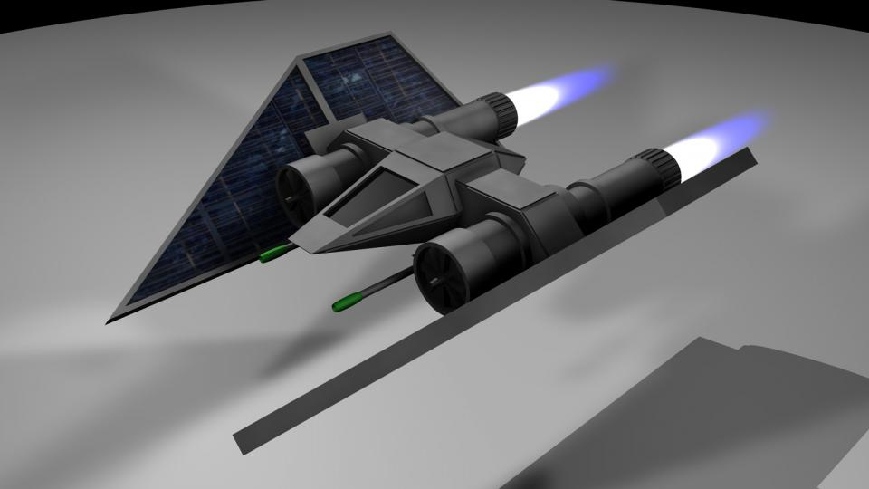 The Defender was an interceptor-class fighter and the cheapest fighter the player could buy. Armed with three laser cannons, it provided a rapid steam of fire, but could not carry any cargo or noteworthy upgrades. While its shields would recover with insane speed from gun hits, a single missile was enough to destroy a Defender.