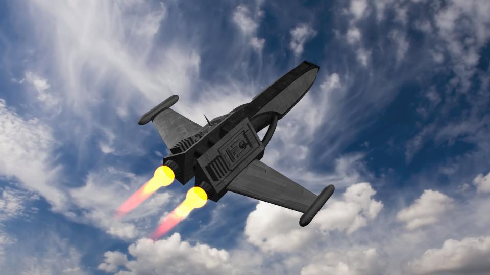 Die ursprüngliche Version hatte seltsame, M-förmige Flügel. Ich habe sie geradegerichtet und, als Homage an den Lear Jet, Tanks an den Flügelspitzen platziert.