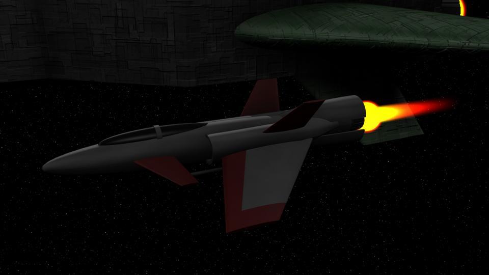 Ich habe mich bei meiner Version der Hawk so nah wie möglich am Original orientiert. Sie demonstriert hervorragend das typische Design der meisten EVC-Schiffe - einen torpedoförmigen Rumpf mit Triebwerken und Flügeln.