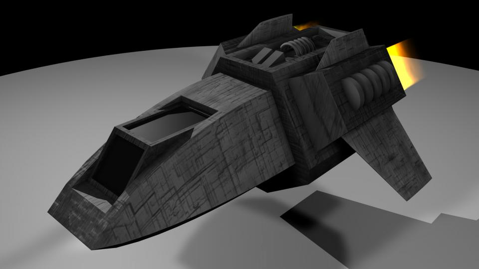 The Shuttlecraft was the player's starting ship. It had little cargo space, limited range and weak defenses. It came unarmed but could be outfitted with up to three laser cannons.