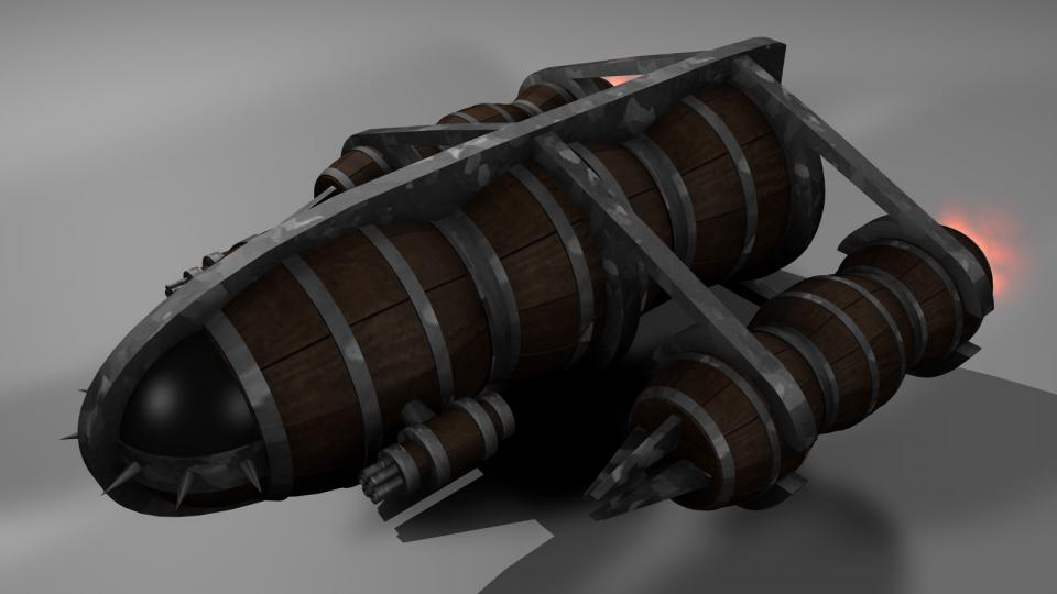 By sacrificing most of its cargo space, an Emalgha Freighter could be upgraded into an Emalgha Warship. Still slow and bulky, these ships were hardly a match for Voinian ships. The Emalgha Warship only had Emalgha cannons as weapons, which were essentially big mass drivers. Luckily, these weapons were highly effective against Voinian armor.