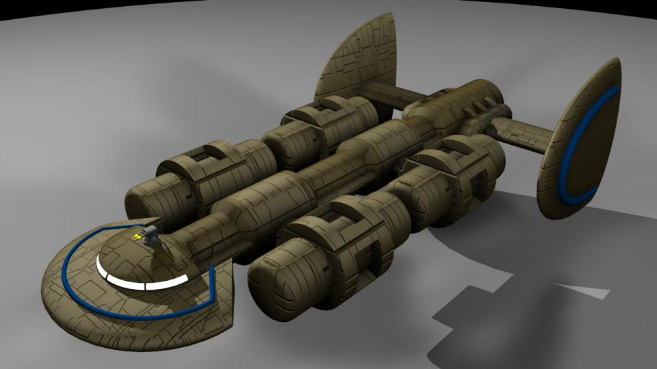 The Miranu Freighter was a common sight in Miranu territory, and also throughout the Crescent. During flight, the cargo containers would rotate in the opposite direction to each other.