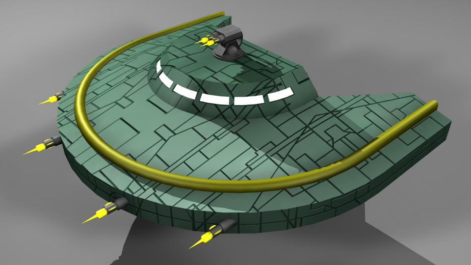 The Miranu despised violence, but with the Strand War and the renegade problem increasing, they had to accept the fact that they needed defense. The Gunship appeared later in the game and was the only military vessel, aside from the Crescent Fighter, used by the Miranu.