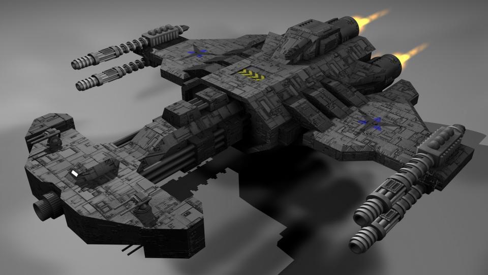 Der Behemoth ist die größte und mächtigste terranische Einheit aus dem ursprünglichen StarCraft. Dies ist ein Nachbau des Schiffs. Erstellt Januar 2005