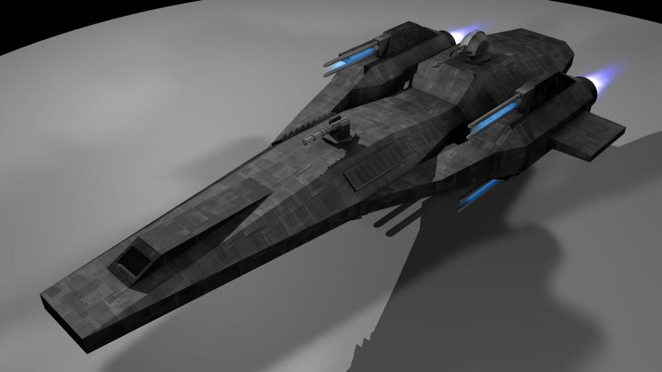 The Chiron is a simple design, armed with four railguns, two laser turrets and two mass driver turrets. It's available on the civilian market and popular among mercenaries, bounty hunters and pirates. The Chiron will make an appearance in Revenant Wraith. Created May 2006