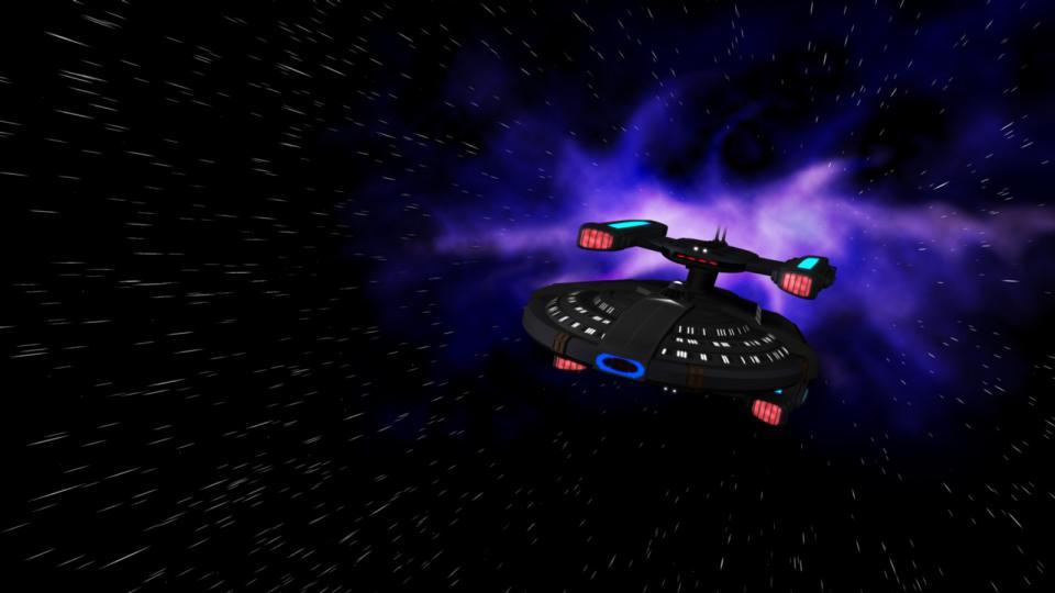 Die Coriolis fliegt mit Warpgeschwindigkeit. Das Schiff wurde von der U.S.S. Stargazer (Constellation-Klasse) inspiriert, dem ersten Schiff, das Picard kommandierte.