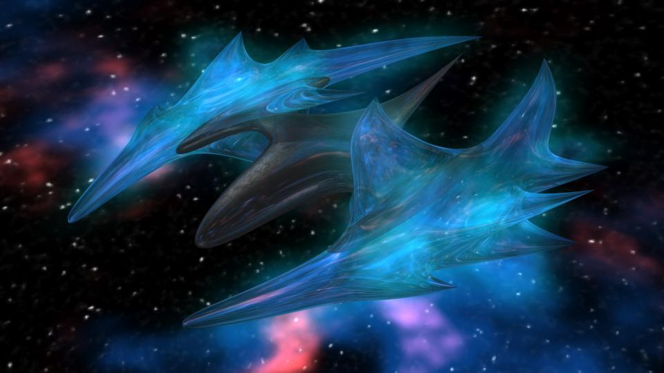The Vell-os were psionically gifted Humans from EV Nova. They would make an appearance as a species in Dark Swarm. This ship is actually a Han-yos model (they're the dark counterparts of the Vell-os), but blue, like Vell-os ships. I kind of liked the look of it. This took ages to render on my older computer. Created January 2013, although the original model is way older.
