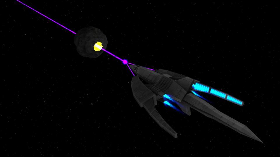 Die Dragon verwendet ihren gebündelten Antimaterie-Partikelstrahl. Der Strahl ist stark genug um fast alles sofort zu durchschneiden.