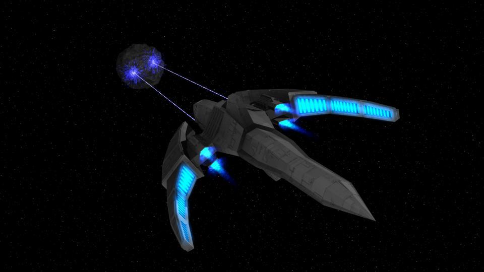 Die Dragon-Klasse verwendet ihre Partikelkanonen. Auf diesem Bild sind ihre Fokus-Emitter deutlich zu sehen. Diese sind Teil ihres fortschrittlichen Hyperantriebs.