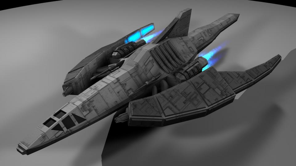 The Dragon-class is sort of a mascot of mine. I'm really fond of how this ship turned out. It is armed with two particle beam cannons and a powerful focused anti-matter particle beam cannon. Created July 2010
