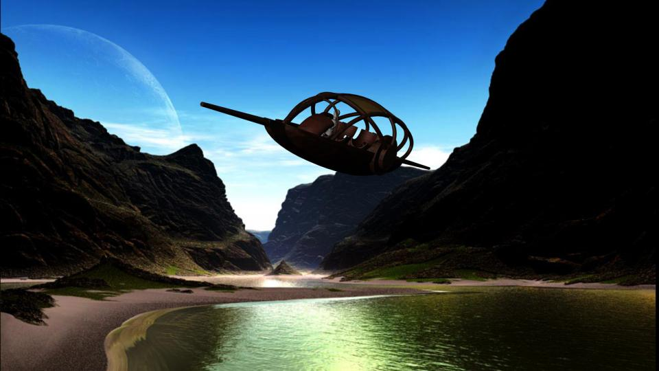 The Exilan passing over a lake. Sorry about the puppet piloting it, I have no characters to place there, and I have no skill in character modelling. Background was done with Mojo World Generator.