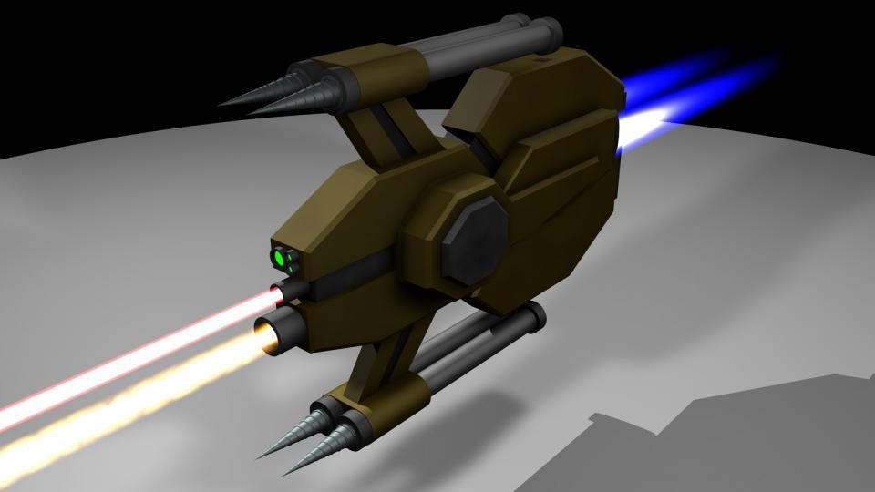 """Bergbaudronen wie diese werden an Bord von Schiffen der Stardust-Klasse verwendet. Sie docken im Hangar am hinteren Ende des Schiffs. Sie verwenden ihre Bohrer, um sich an Erzvorkommen zu heften und bauen sie mit ihren Lasern ab. Manchmal werden sie auch zur Verteidigung eingesetzt - dann heften sich die Dronen an feindliche Schiffe und """"bauen sie ab"""". Erstellt Mai 2011"""