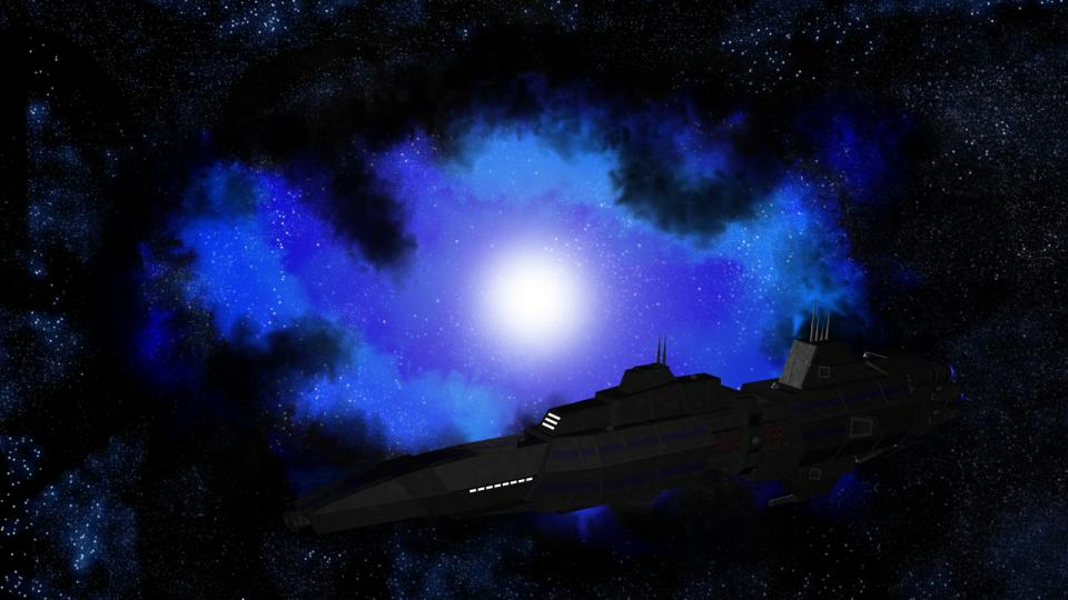 I later used the Narcissus as CED carrier in Dark Swarm. The Nebula in the background was done in Photoshop.