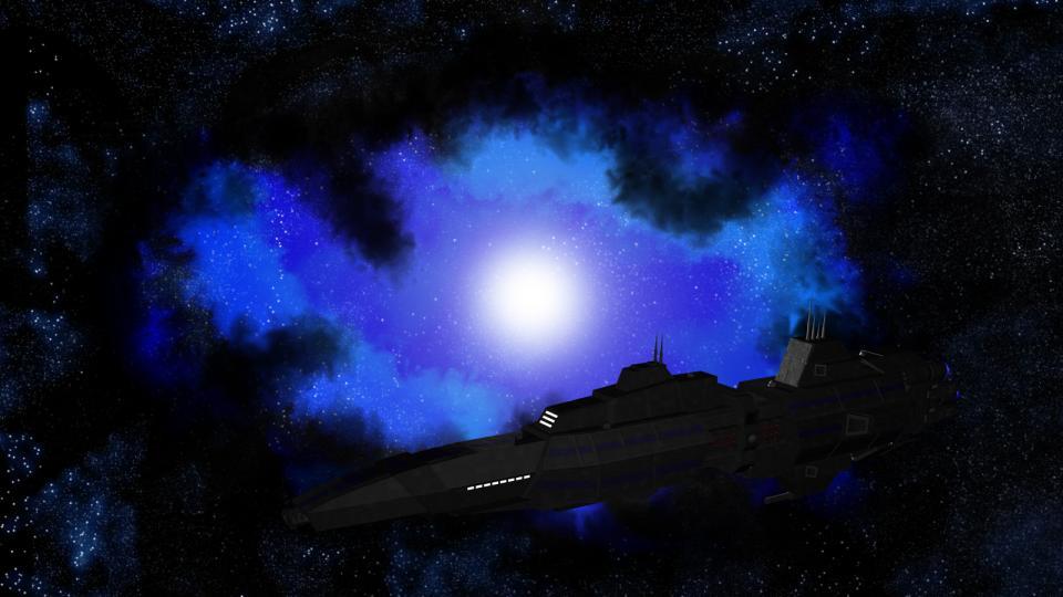 Ich habe die Narcissus später als CED Trägerschiff in Dark Swarm verwendet. Den Nebel im Hintergrund habe ich in Photoshop erstellt.