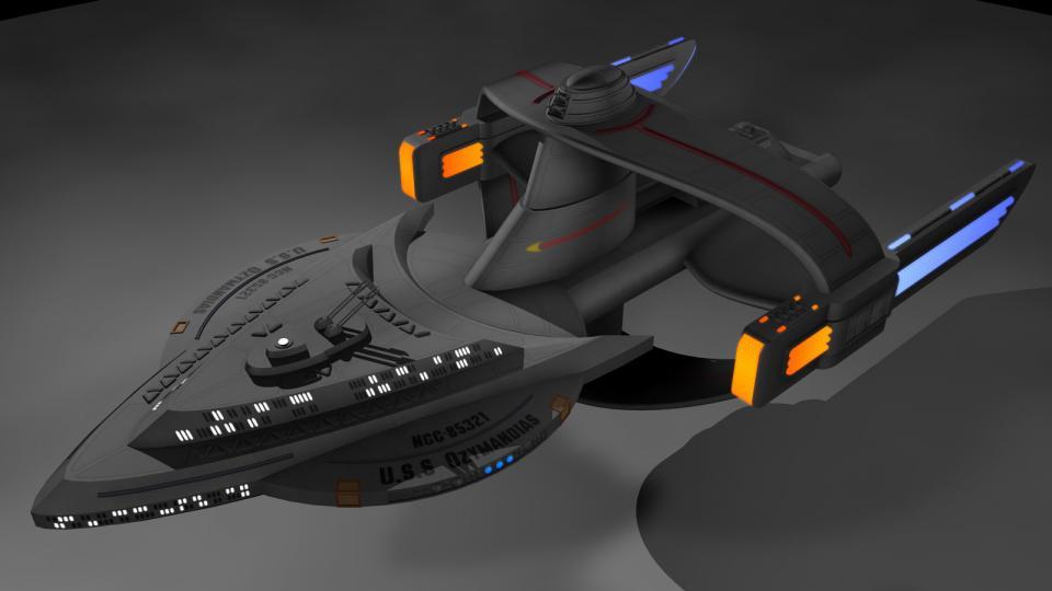 Die Ozymandias war eine Auftragsarbeit von jemanden auf Deviantart. Es ist vermutlich ein schnelles Forschungs- und Angriffsschiff. Man beachte die Untertassensektion, die wie das Sternenflottenemblem geformt ist. Erstellt Juli 2012