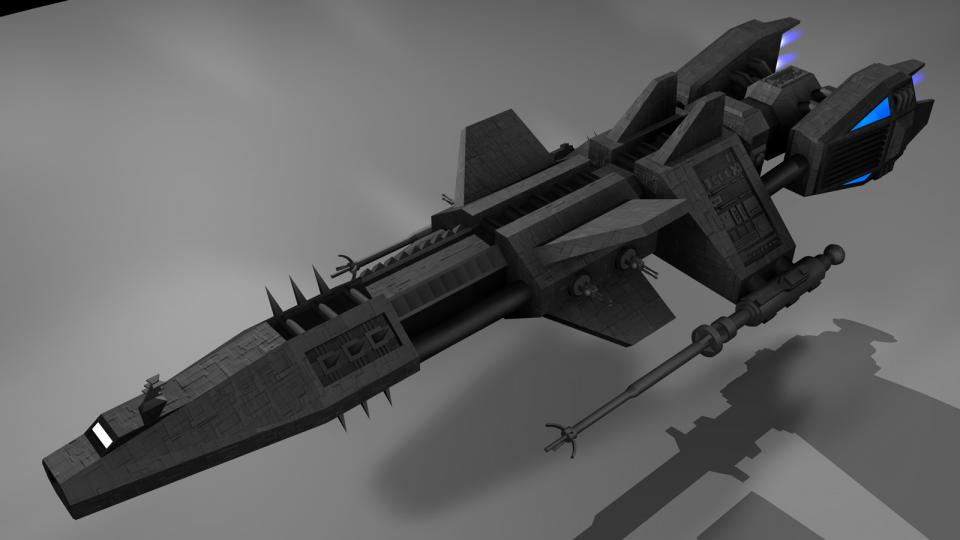 The Permetior was designed as a long-range scout, reconnaisance and science vessel. It is fast and carries two unusually large forward mounted laser cannons. It will make an appearance in Revenant Wraith. Created July 2006