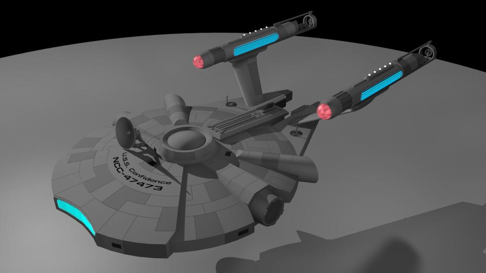 There is a movie named Zapped. I've never seen that movie, but it contains a small StarTrek model that had been kitbashed from a model of the Millenium Falcon and an Enterprise Refit's nacelles. I liked that design so I created my own version of it. It is from the TOS or TOS Movie-Era. Created December 2012