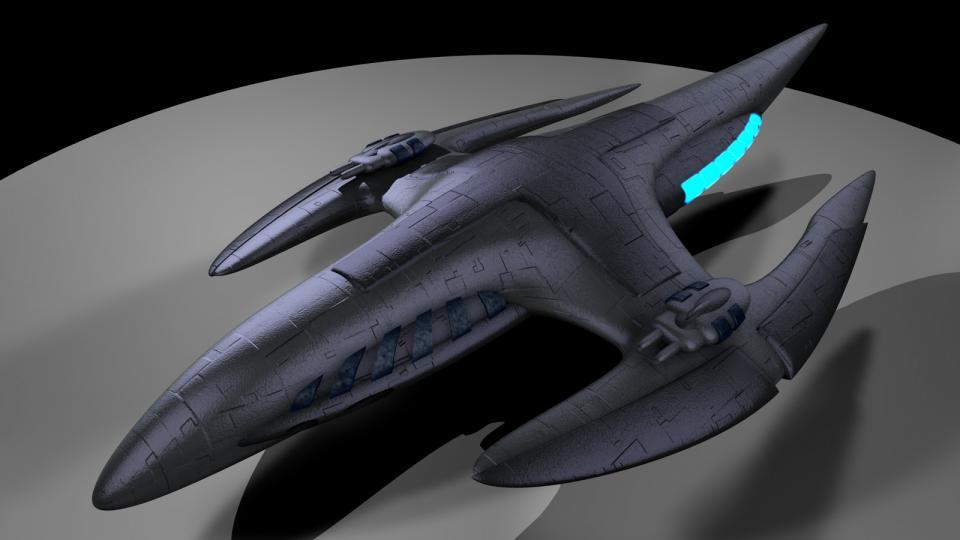 Das schönste Schiff in EVN war die Polaris Dragon, ein organisches Schiff. Als ich eine mechanisierte Version des Schiffs sah, entschied ich mich, eine eigene Version zu erstellen. Das Ergebnis ist die Wyvern. Erstelt April 2009