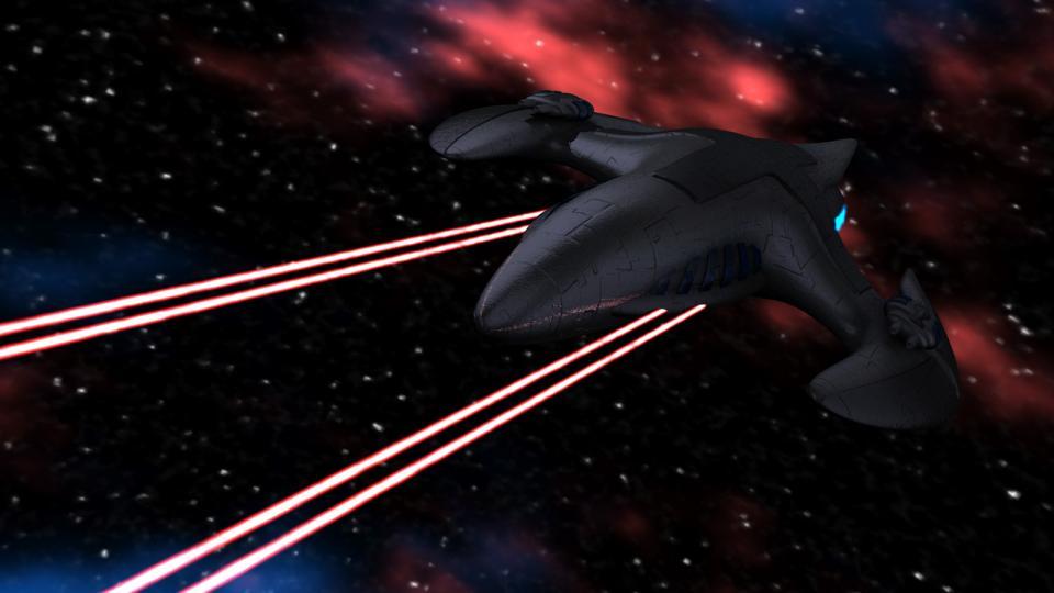 Die Wyvern feuert ihre Strahlenkanonen ab.