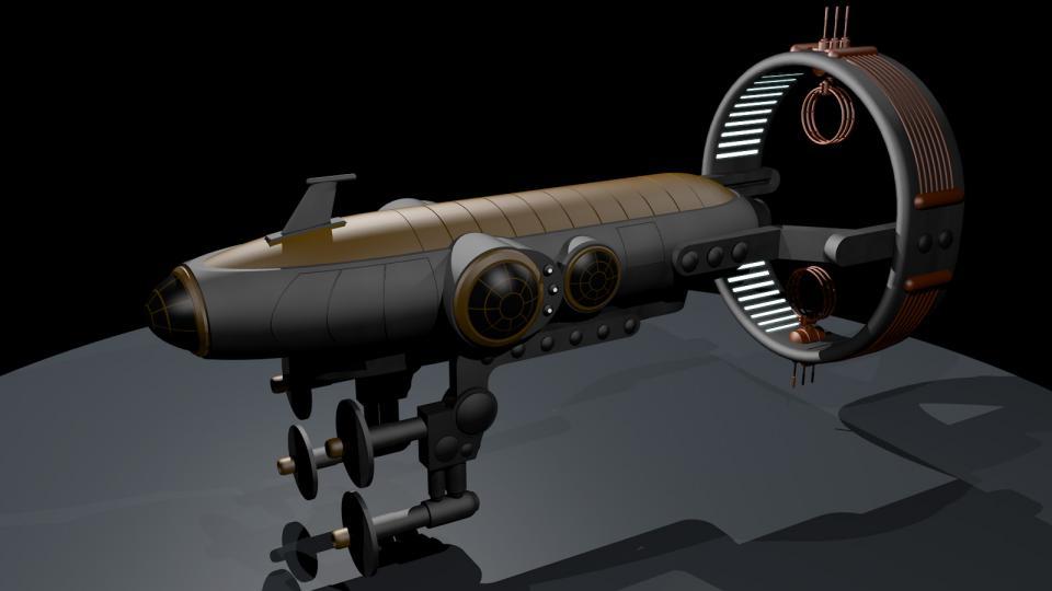 Die Aurora ist ein ziviles Raumschiff der Ith'hijori. Diese eleganten Schiffe haben ein luxuriöses Interieur, das für eine Zweimann-Crew gedacht ist. Das obere Deck enthält den Wohnbereich. Das Bild zeigt das Schiff in seiner Flugkonfiguration - der Bussardantrieb ist ausgefahren und die Konnektoren sind nach vorne gerichtet.