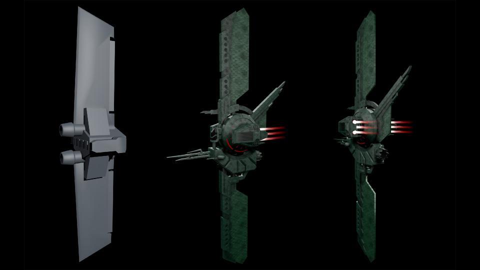 Ares war eines meiner Lieblingsspiele in den 90ern, und der Cantharan Schooner war eines meiner Lieblingsschiffe. Links sieht man ein untexturiertes Render des Originalmodells (die Rohre sind seine Kanonen, nicht Triebwerke). Ich habe meine eigene Version des Schiffs erstellt, mit kardanisch aufgehängten Laserkanonen und drehbaren Triebwerken für Manövrierfähigkeit. Erstellt Juli 2017