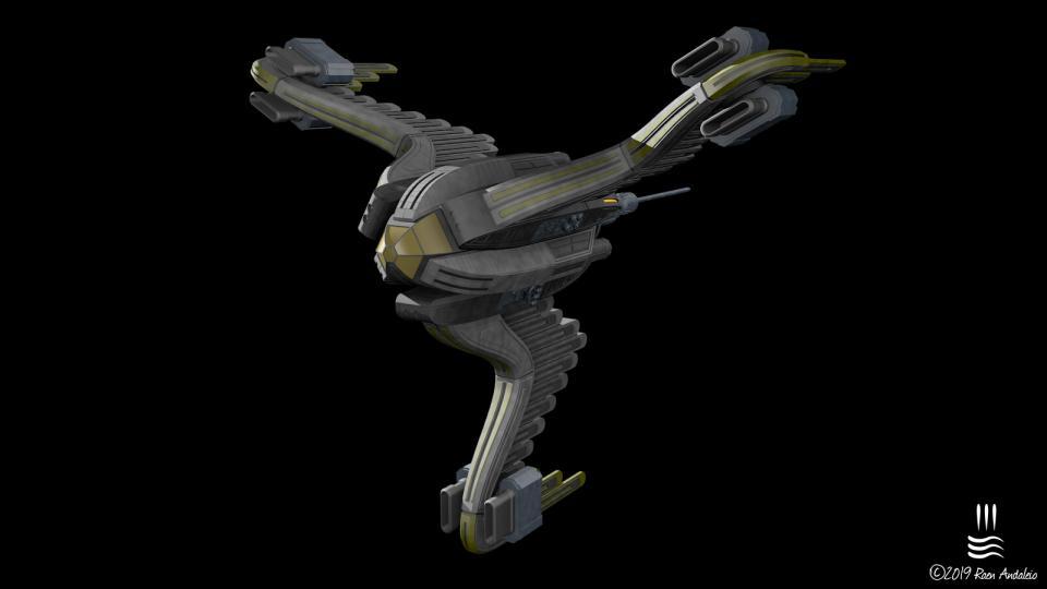 Meine Reinterprätation eines meiner Lieblingsschiffe aus Ambrosia Softwares Escape Velocity Nova. Erstellt November 2019