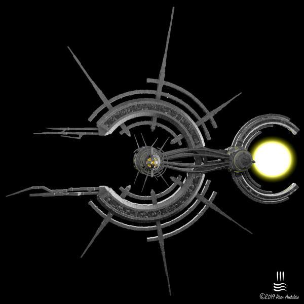 Der Sonnenschwanz war ein Versuch, ein Schiff zu erstellen, das eindeutig nicht von Menschen geschaffen wurde. Ich hatte dieses radiale Design im Kopf und bin recht glücklich damit, wie es aussieht. Erstellt Oktober 2019
